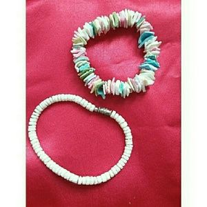 Two Puka Shell Bracelets White & Colorful